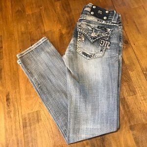Miss Me Straight Embellished Jeans Size 25